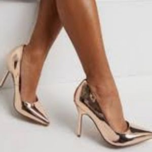 Faux Patent Pointy Toe Pumps